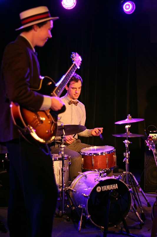 The Arntzen Brothers play the Bassment in Saskatoon, with Andrew Miller at the drum kit and Arnt Arntzen on guitar. Photo taken Tuesday, April 23, 2013.