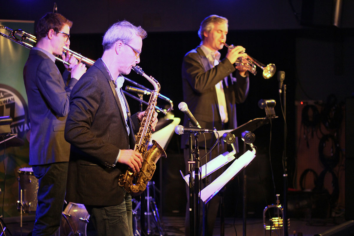 The Story of Jazz. Saxophonist Mark DeJong was joined on stage by Dean McNeill on trumpet and Carsten Rubeling on trombone. Photo taken Tuesday, April 30, 2013.