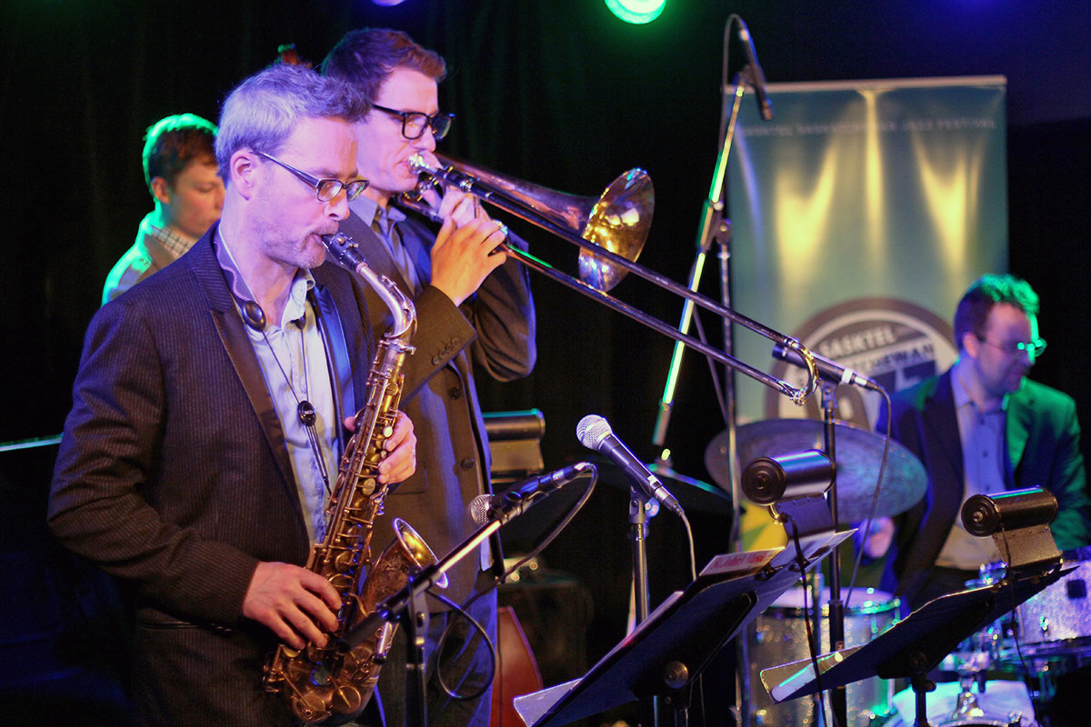 The Story of Jazz. Saxophonist Mark DeJong was backed up by Soren Nissen on bass, Jon McCaslin at the drumkit, and Carsten Rubeling on trombone. Photo taken Tuesday, April 30, 2013.