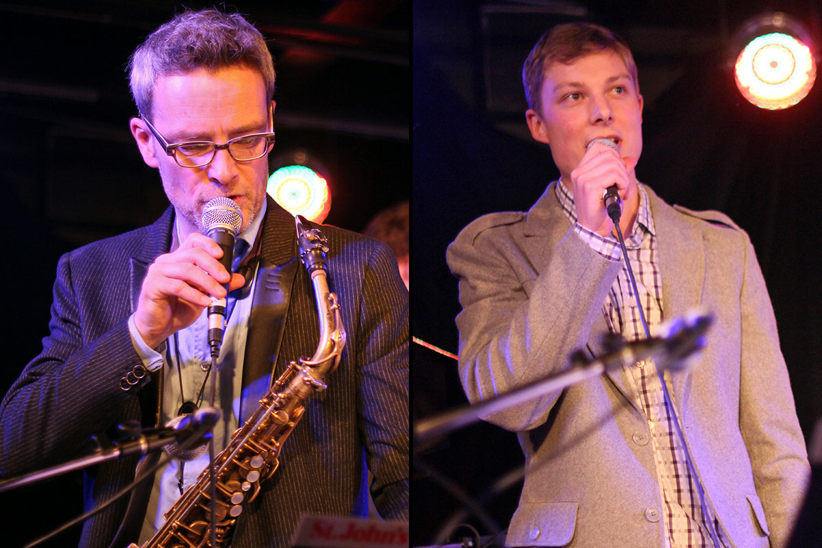 The Story of Jazz. Mark DeJong and Soren Nissen, as well as their bandmates, took time to discuss their musical influences during breaks between songs. Photo taken Tuesday, April 30, 2013.