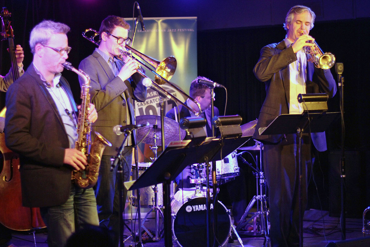 The Story of Jazz. The horn section collectively improvises during the Story of Jazz. Photo taken Tuesday, April 30, 2013.