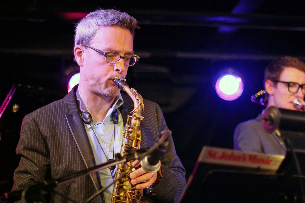 The Story of Jazz. The event was hosted by Mark DeJong on the saxophone. Photo taken Tuesday, April 30, 2013.
