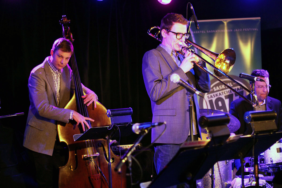 The Story of Jazz. Bassist Soren Nissen and drummer Jon McCaslin play on as Carsten Rubeling solos. Photo taken Tuesday, April 30, 2013.