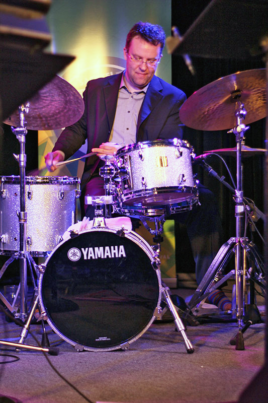 The Story of Jazz. Drummer Jon McCaslin kept the quintet on time as they explored the history of jazz. Photo taken Tuesday, April 30, 2013.
