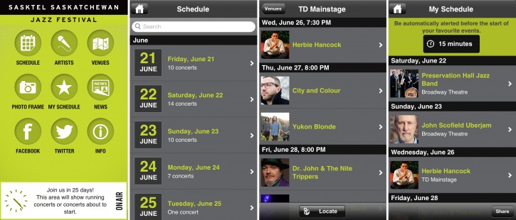 Screenshots of the Jazz Fest app. From left to right: the home screen; the schedule page; a list of shows happening at the TD mainstage; and the My Schedule list of shows that have been 'favourited'.
