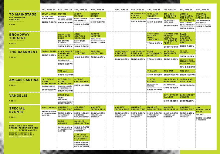 The full 2013 Jazz Festival schedule. Click to enlarge.