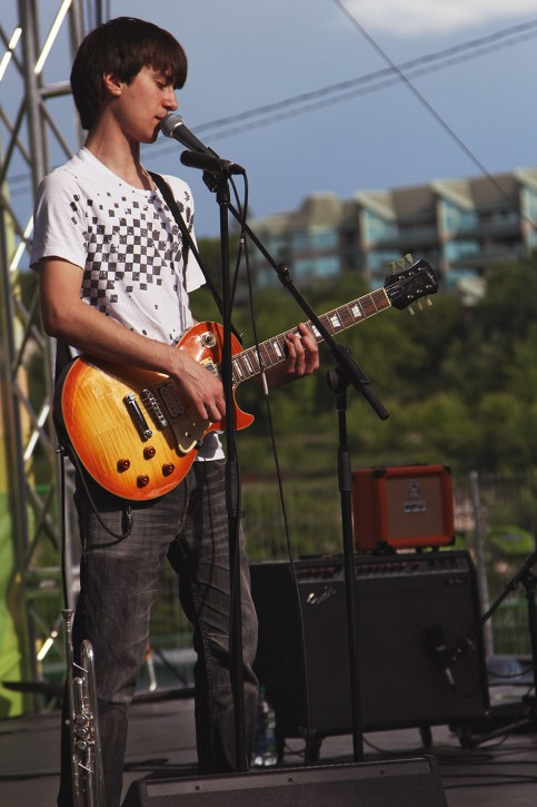 Ben Fortosky, Misterfire's lead singer and rhythm guitarist, getting into the groove at the Saskatchewan Jazz Festival.