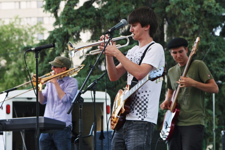 Cameron Baribeu (left), Ben Fortosky (centre), and Emmett Fortosky (right) breaking it down at the Saskatchewan Jazz Festival.